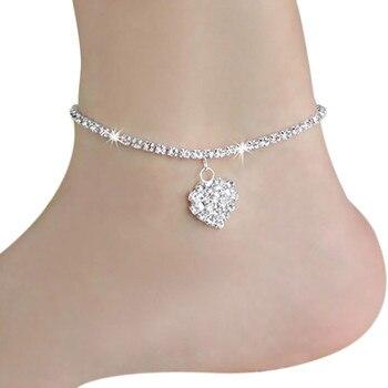 GlintLife | Crystal heart ankle bracelet | For feet beauty