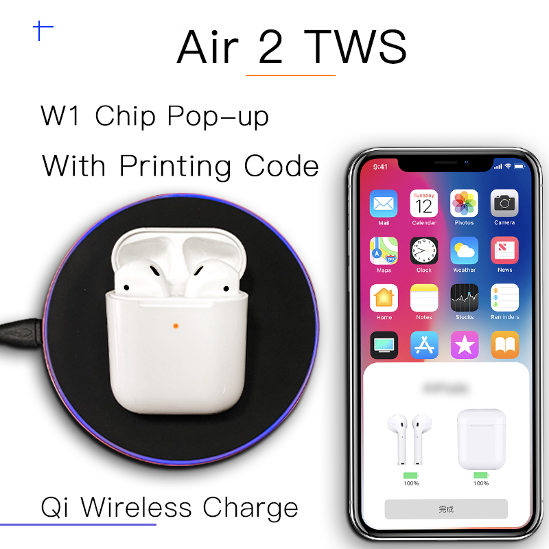 Air 2 i80 TWS 1:1 Size Earphone Bluetooth Earbuds W1 Chip Pop Up Qi Wireless Charge Headset For iPhone EarphonesAir 2 i80 TWS 1:1 Size Earphone Bluetooth Earbuds W1 Chip Pop Up Qi Wireless Charge Headset For iPhone Earphones