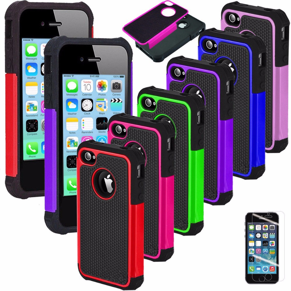 For iPod Touch5 Armor impact Heavy Duty Double protection Rubber Shockproof Soft Silicone +Hard Hybird Case Cover+Films