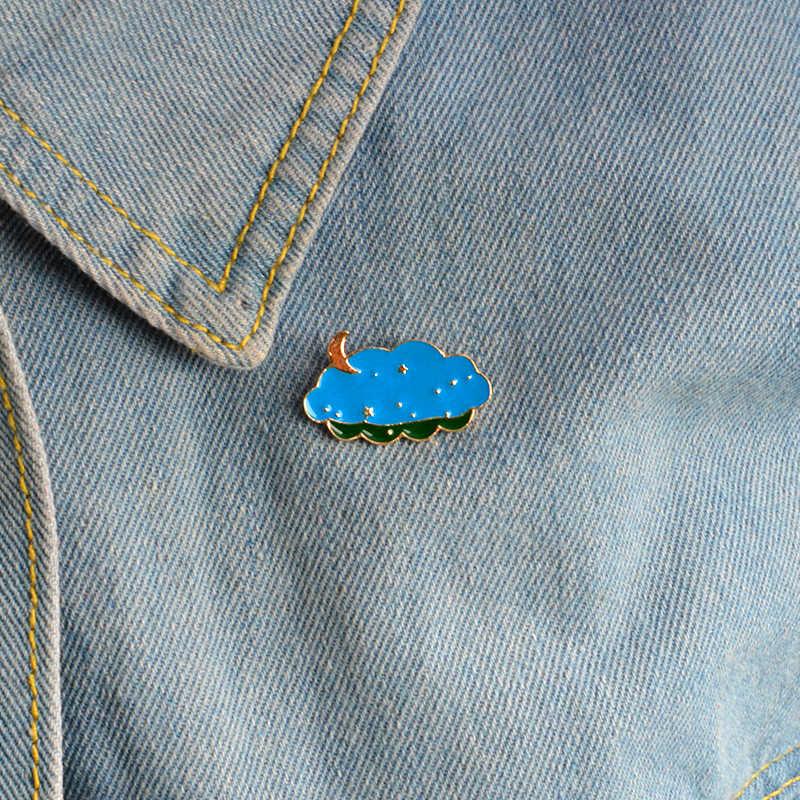 การ์ตูน starry night เคลือบ pins ดวงจันทร์และดาวเมฆเข็มกลัด Pins Badge Denim เสื้อผ้ากระเป๋าเครื่องประดับของขวัญเด็ก