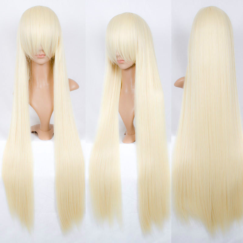 Womens cospay Chobits CHII 100cm super long pale milk blonde COSPLAY wig Gift ears accessories Natural Kanekalon Fiber Hair wig