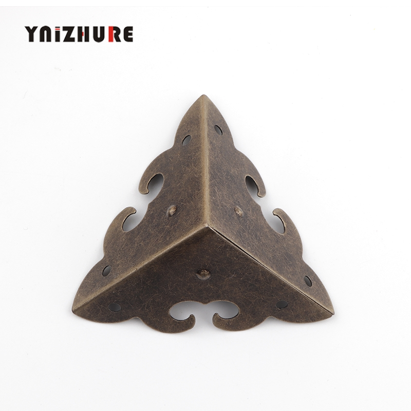 Wooden Box Cloud Coner,Wine Box Protector,Embellishment Findings Triangle Corners Antique Bronze Tone Hollow Pattern 45mm,4Pcs
