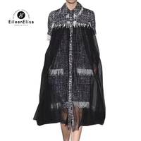 Elegant Dress Winter Tweed Dresses Retro Women 2019 Short Sleeve Beading Ladies Dress Vestidos Robe