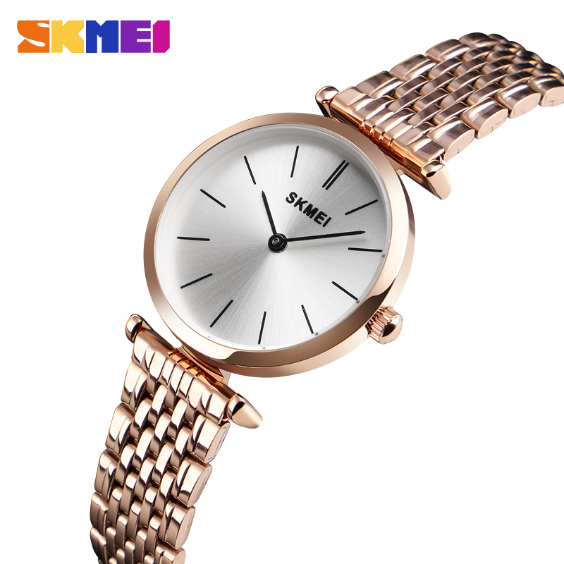 SKMEI Luxury Women Watch Quartz Wristwatches Fashion Casual Waterproof Quartz Watches Small Dial Ladies Watch Reloj Mujer 1458