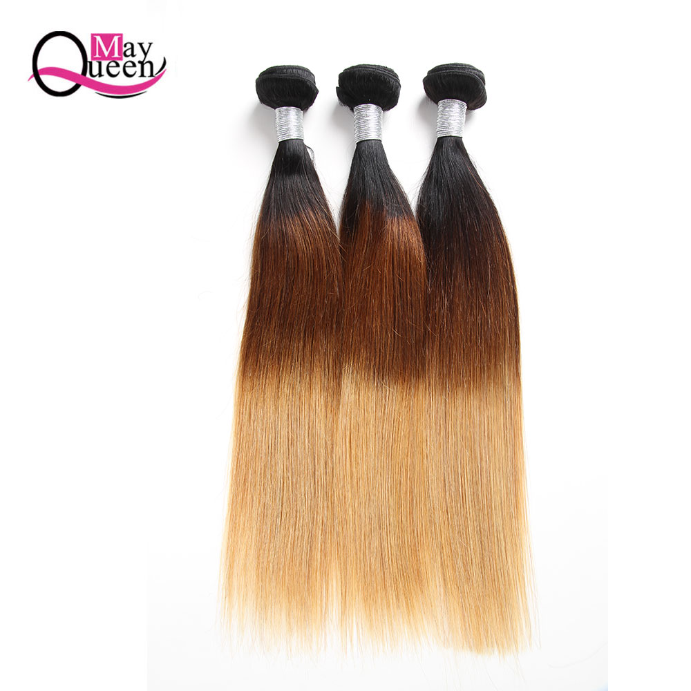 May Queen Ombre Brazilian Straight Hair 3 Bundles Three Tone 100% Human Hair Weave Bundles Remy 1b/4/27 Extensions