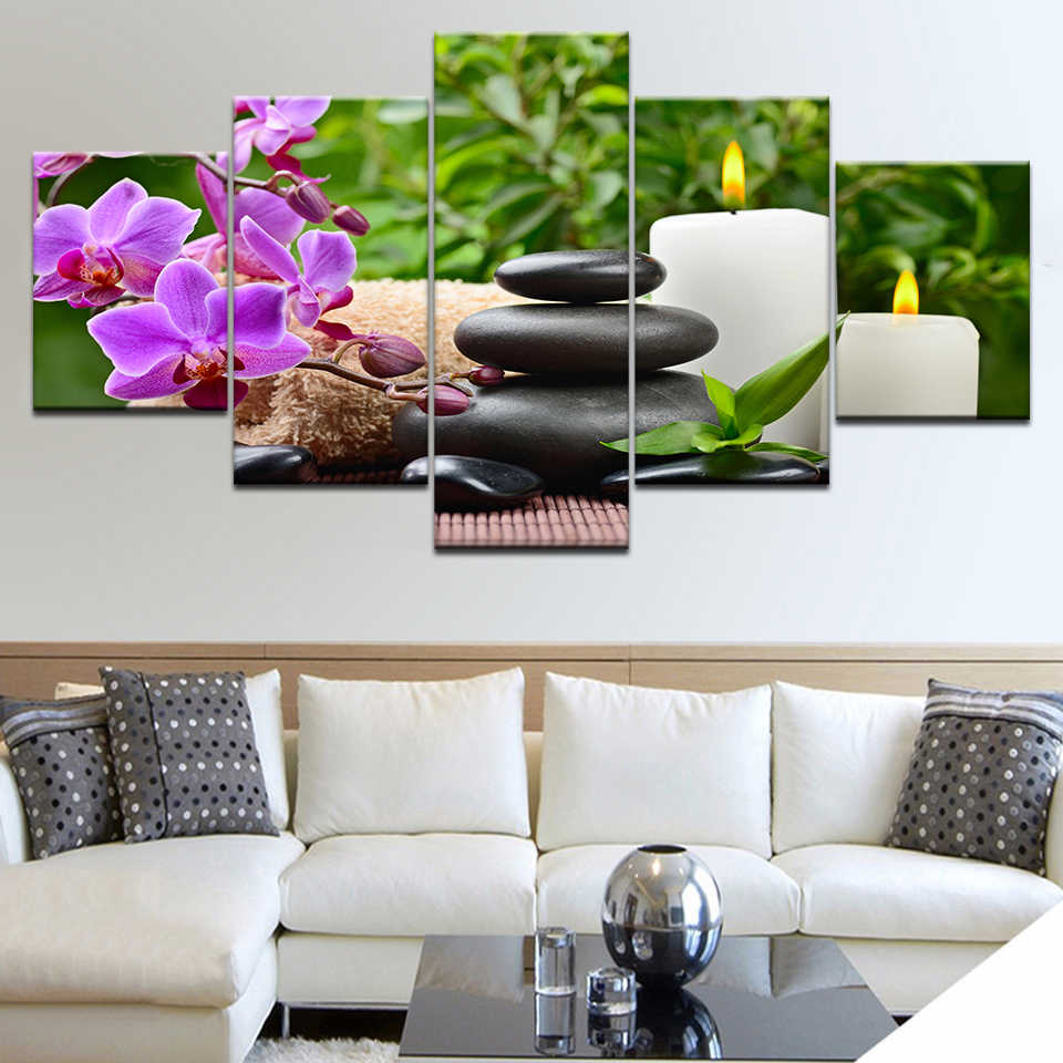 4pcs Home Decor Abstract Flower Wall-Art Canvas Print-Pictures For Living Room