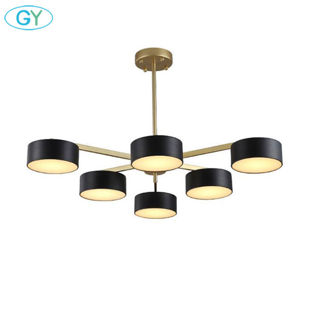 Nordic post modern 36W 60W 72W dining room pendant light minimalist gold + black art living room lamp, bedroom island down light nordic post modern black metal dining room pendant light modern led living room bedroom lights kitchen light