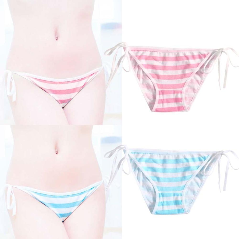 Free Shipping 2018 New KLV Stripe Bandage   Panties   Cotton Harajuku Cute Sexy Hatsune Miku Underwear Cosplay