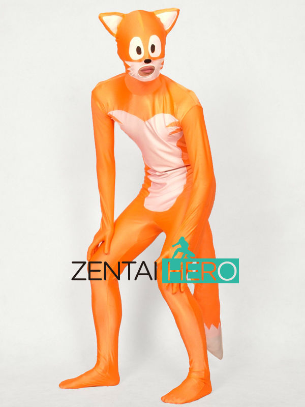 Free Shipping DHL Funny Cute Fox Orange&White Lycra Spandex Zentai Full Bodysuit Adult Animal Halloween Costume with Tail XRC177