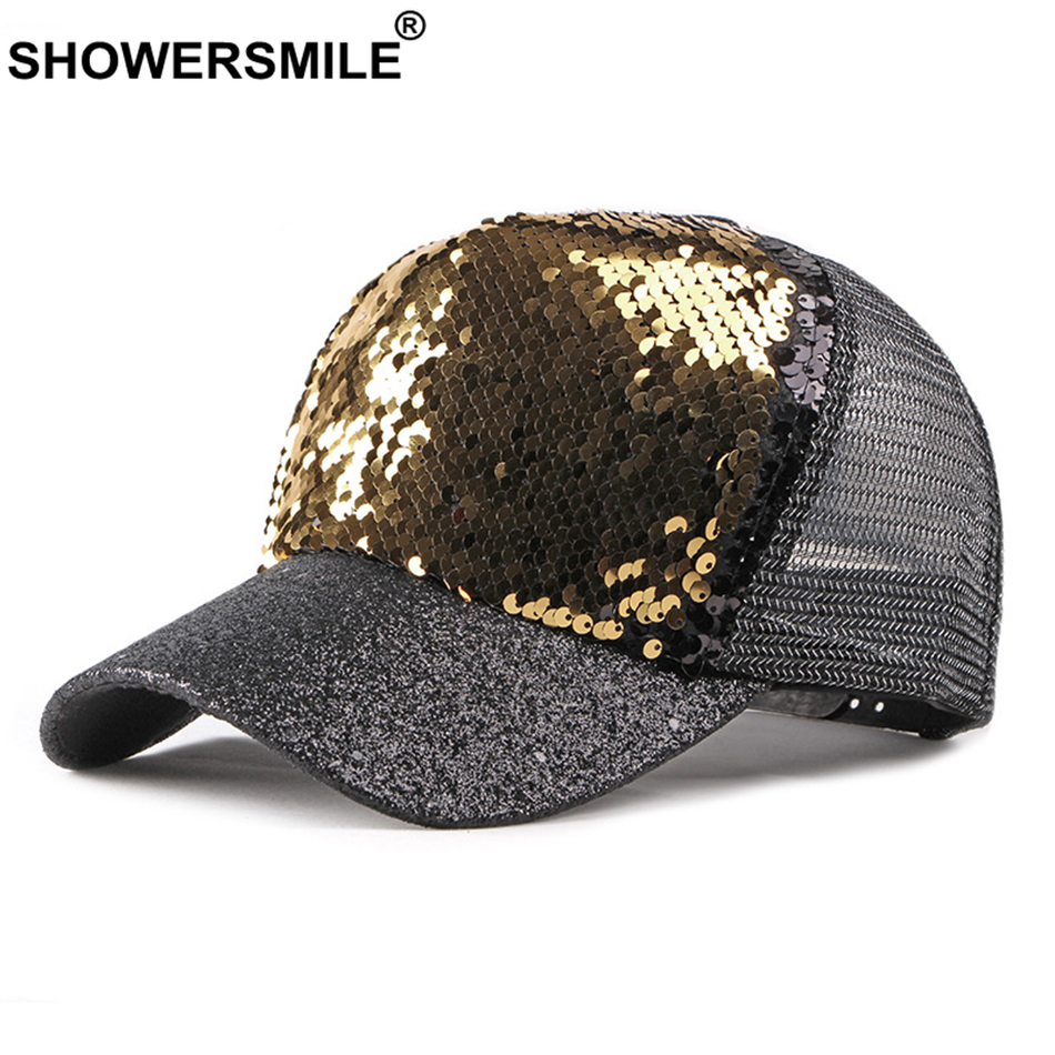 SHOWERSMILE Gold Baseball Hat Women Sequins Trucker Hat Mesh Cap Snapback Female Breathable Summer Ladies Tennis Hats and Caps