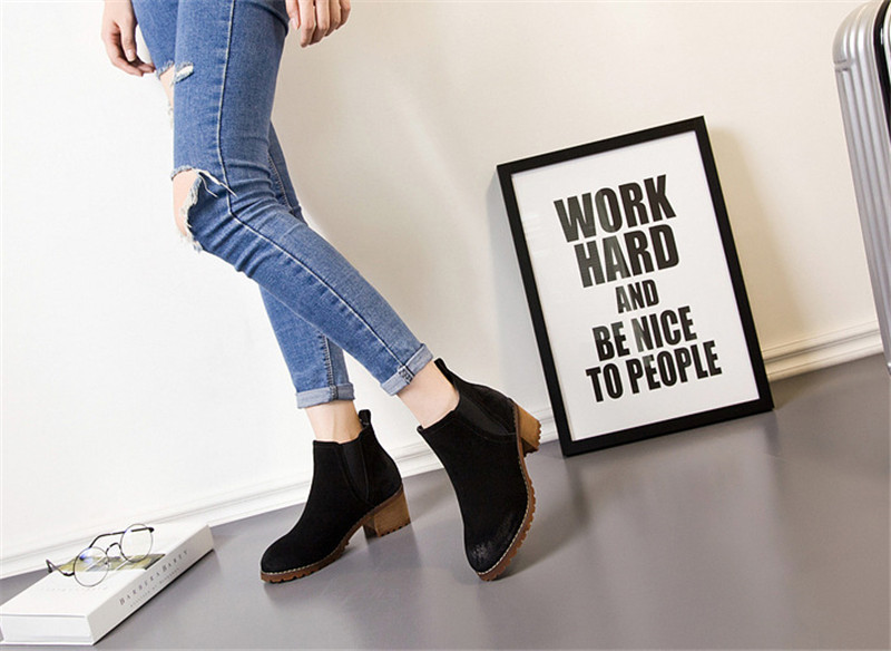 ФОТО Women Shoes High Heel Western Boots Winter 2017 Fashion Ankle Boots Vestidos Zapatos Mujer Hombre Shoes New Arrival