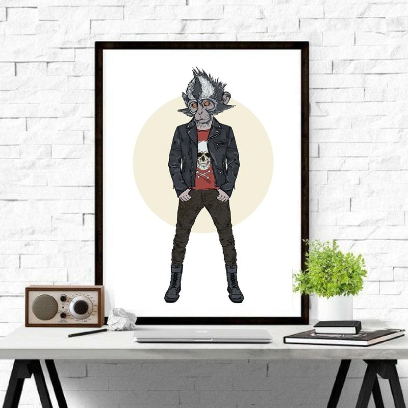 Katze In Punk Stil Leinwand Kunstdruck Und Poster, Punk Affe ...
