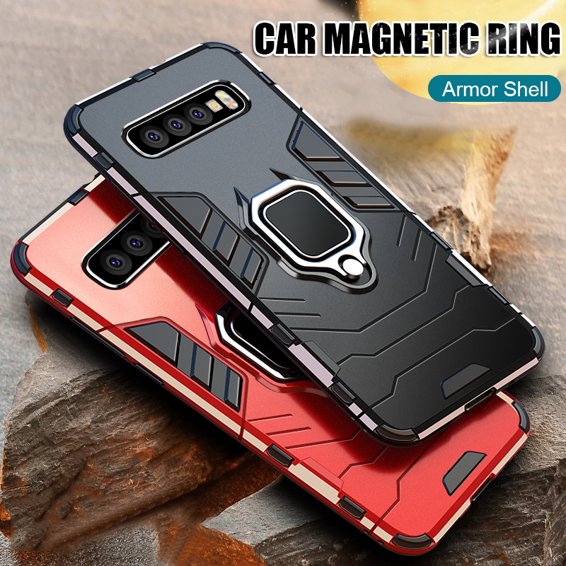 Car Magnetic Ring Armor Case On The For Samsung S10E S8 S9 S10 PLus Full Cover For Samsung Note 9 A7 2018 Ring Bracket Case Capa