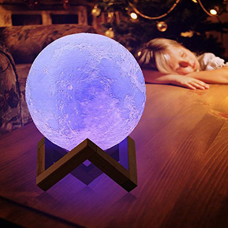 Night light Moon Lamp Warm White RGB Moon Light 2 Colors 16 Colors 3d Printed Moon Lamp Led Art Deco 8cm 10cm 15cm 18cm 20cm magnetic floating levitation 3d print moon lamp led night light 2 color auto change moon light home decor creative birthday gift