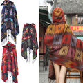 Women Bohemian Collar Plaid Cape Cloak Poncho Wool Blend Shawl Scarf