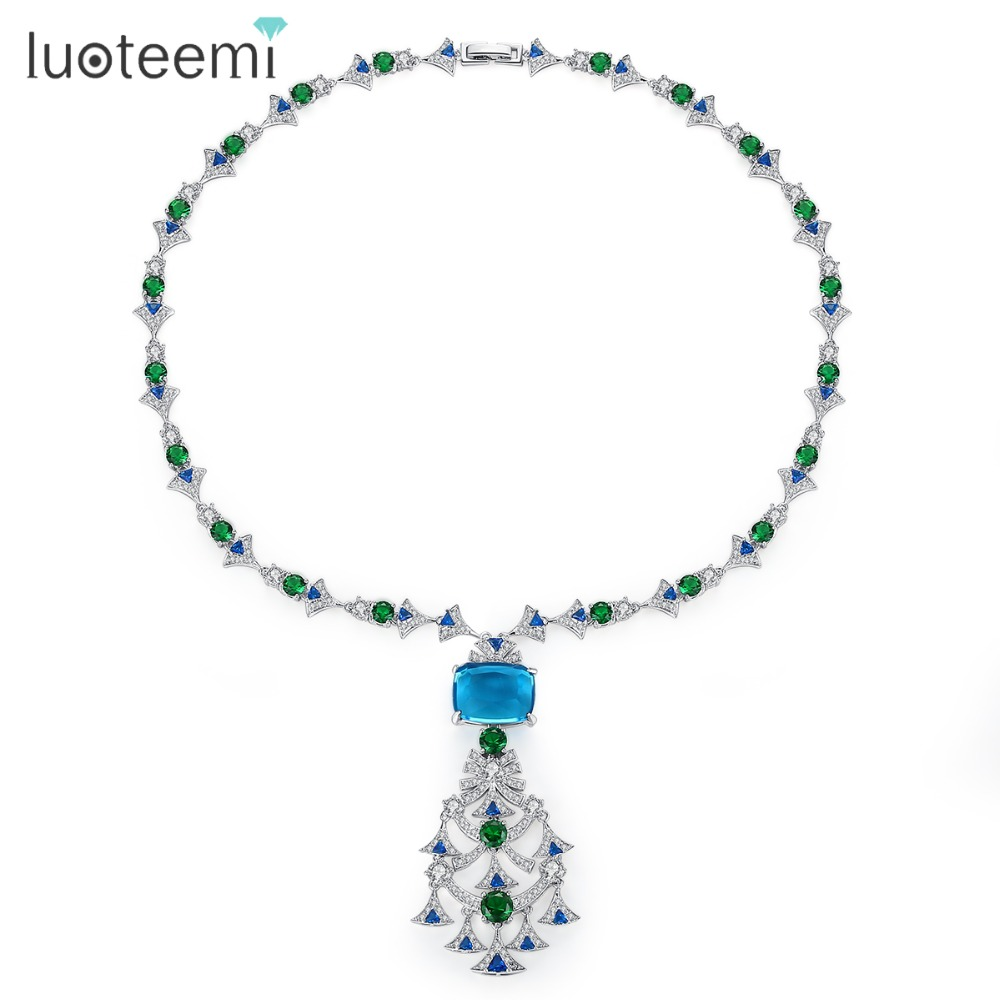 LUOTEEMI New Ethnic Chandelier Necklace for Women Luxury CZ  Jewelry for Wedding Party Double Color Colar Feminino Christmas  GiftPendant Necklaces