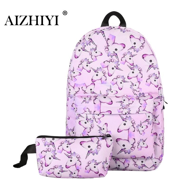 2Pcs Unicorn Backpack 3D Preppy Printing BackPack Travel Softback Notebook Bag Mochila School Backpack For Girls Bagpack Set
