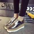 Thick Heel Platform Spring Autumn Hot Sale Womans Fashion Shiny Champagne Color PU Leather Non-slip Lace Up Casual Women Shoes