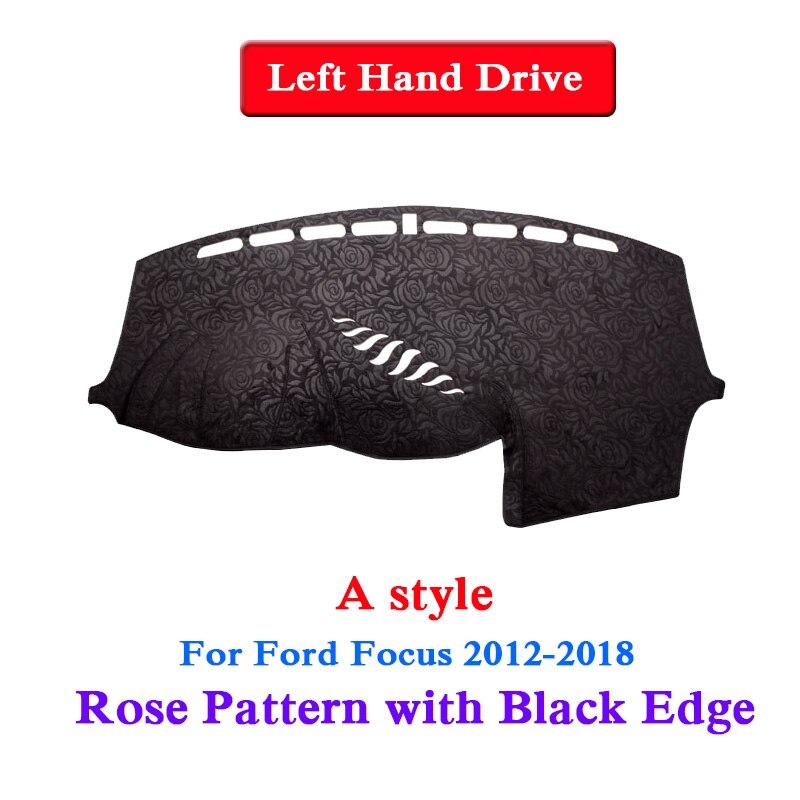 QCBXYYXH pour Ford Focus 2007-2018 Rose motif tableau de bord tapis de protection intérieur photophobisme Pad ombre coussin voiture style