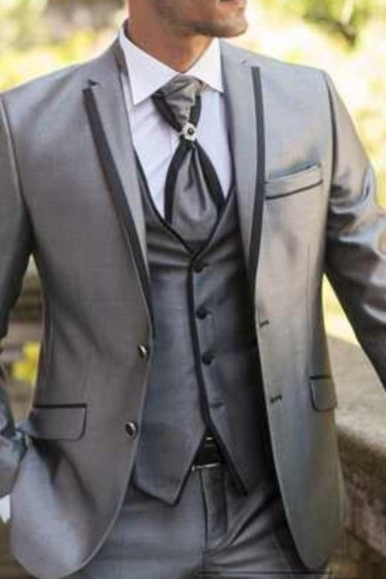 Latest Coat Pant Designs Sliver Grey Satin Trim Men Suit Slim Fit 3 Piece Classic Tuxedo ...