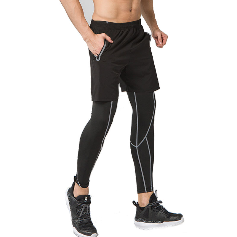 243a9f484911e 2PC Men Sports Running Tights Leggings Gym Clothing gym Basketball Compression  Pants Fitness cycling yoga Tennis