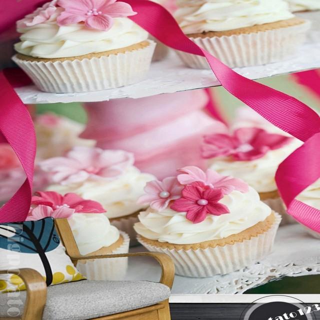 Custom photo wallpaper Aesthetic Pink Cream Chocolate Cake Bread ...