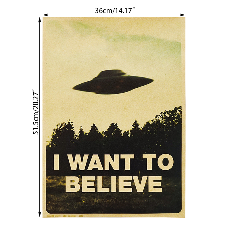 HTB1K8ofMhYaK1RjSZFnq6y80pXam DLKKLB Vintage Classic Movie The Poster I Want To Believe Poster Bar Cafe Home Kraft Paper Decorative paintings Wall Sticker