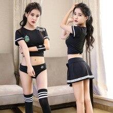 Сексуальная школьная девушка костюм болельщика Вечерние наряды для ночного клуба Футбольная форма для ребенка Корейский Японский сексуальный костюм