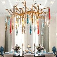 Modern Copper Chandeliers Colored Glass Drops Chandelier Light Home Lighting Crystal Chandeliers LED Brass Chandelier Lamp