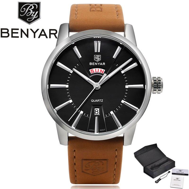 BENYAR Modern Black Business Men's Quartz Wristwatch Day & Date Display Dial Brown Genuine Leather Band Fashion Watch Gift reloj modern business information systems