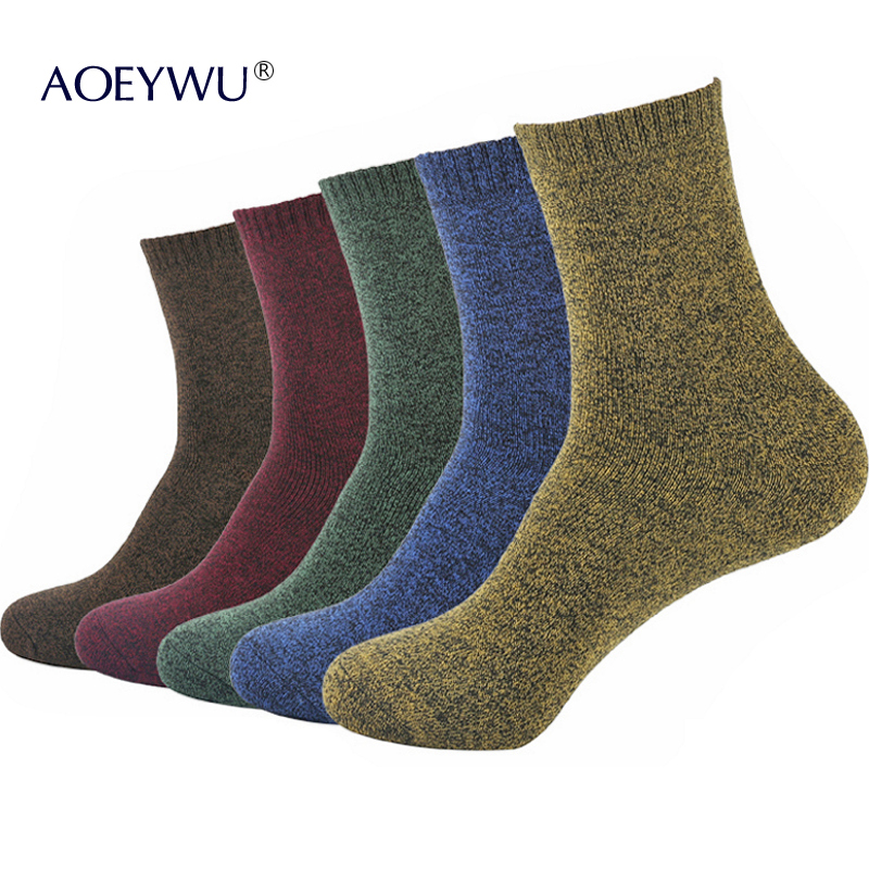 5Pairs/Lot Men Fashion Colorful Terry Socks Winter High Quality Thicken Warm Cotton Towel Socks For Male Hot Eur40-44