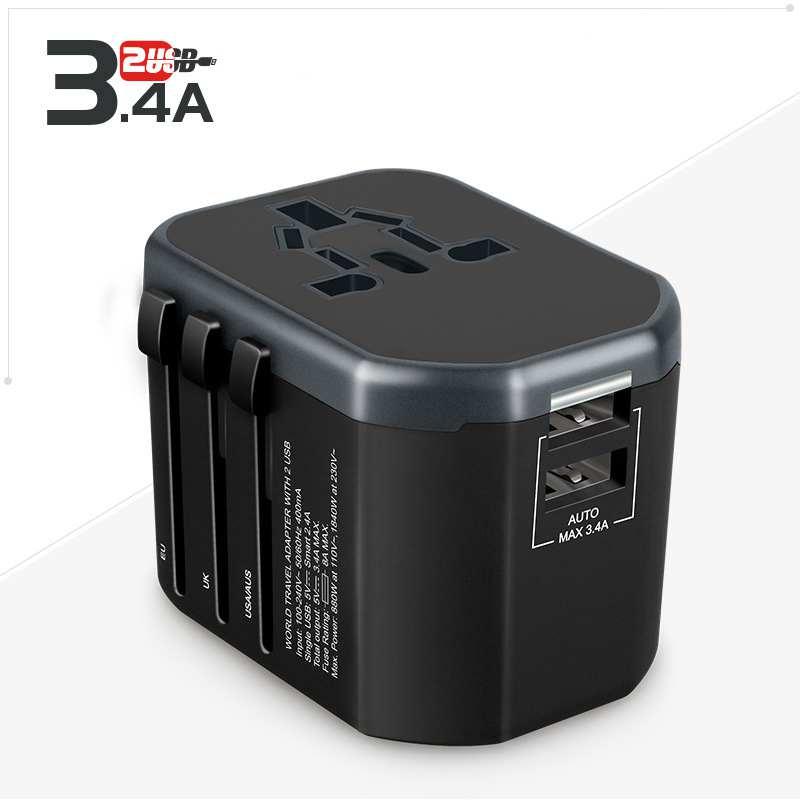 Adaptador de viaje Universal USB todo-en-uno adaptador de enchufe internacional adaptador de corriente con 3.4A cargador de pared USB Dual para el Reino Unido/EU/AU