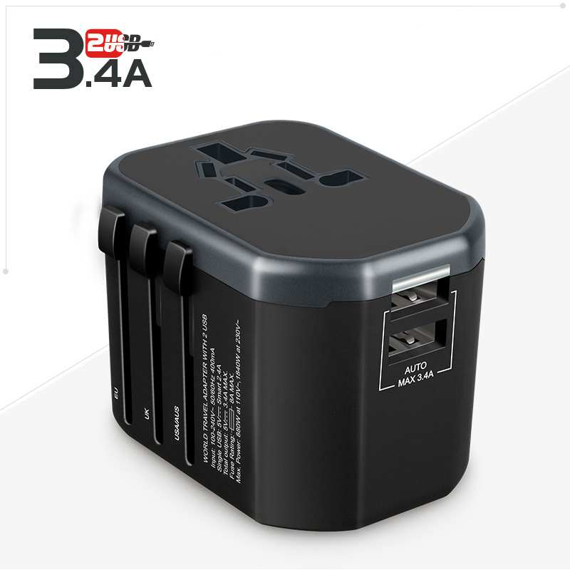 Universal Travel Adapter USB All-in-one Plug Adapter International Power Adapter with 3.4A Dual USB Wall Charger for UK/EU/AU all in one universal international plug adapter 2 usb port world travel ac power charger adaptor with au us uk eu converter plug