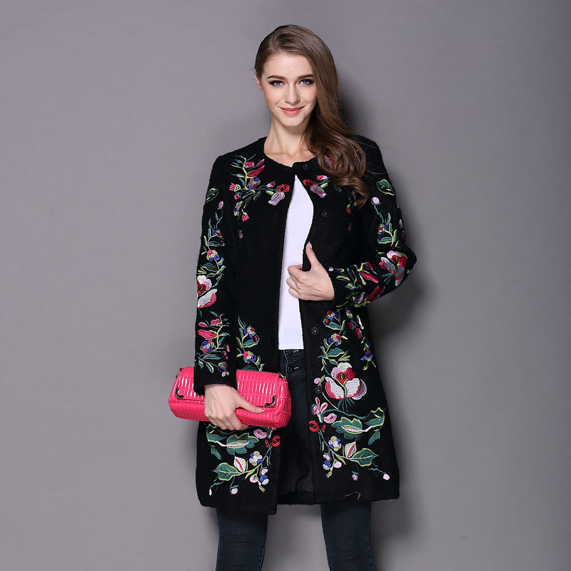 2017 Europe fashion women long wool coat autumn winter jacket plus size  XXXL flower embroidery coat