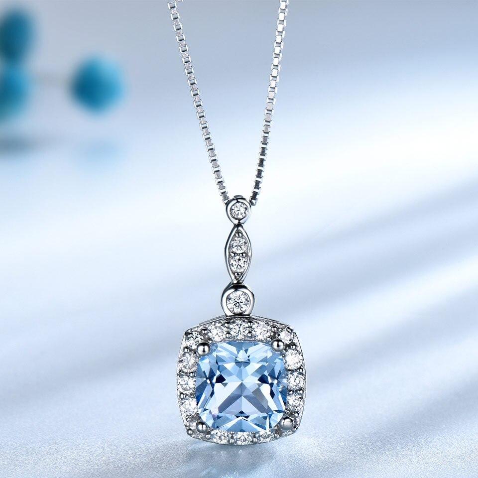 UMCHO 925 Sterling Argent parure de bijoux Ciel Bleu Topaze pendentif anneau; Boucles boucles d'oreilles pour femmes De Mariage Valentine Cadeau de bijoux fins - 3