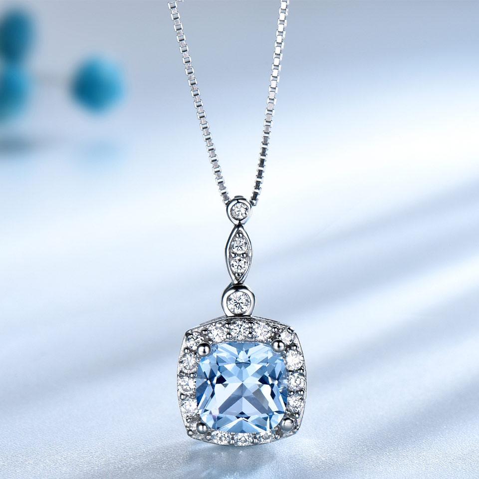 UMCHO conjunto de joyería de plata de ley 925 de cielo azul Topacio anillo colgante pendientes para las mujeres de la boda regalo de San Valentín bien joyería - 3