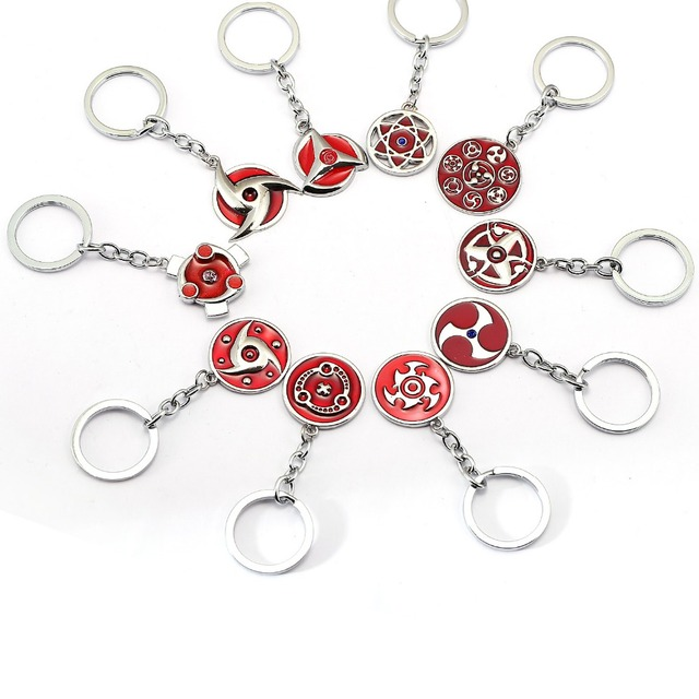 5pcs/lot Wholesale Naruto Keychain Uchiha Itachi Mangekyou Sharingan Uzumaki Akatsuki Kakashi Konoha Pendant Key Chains Chaveiro
