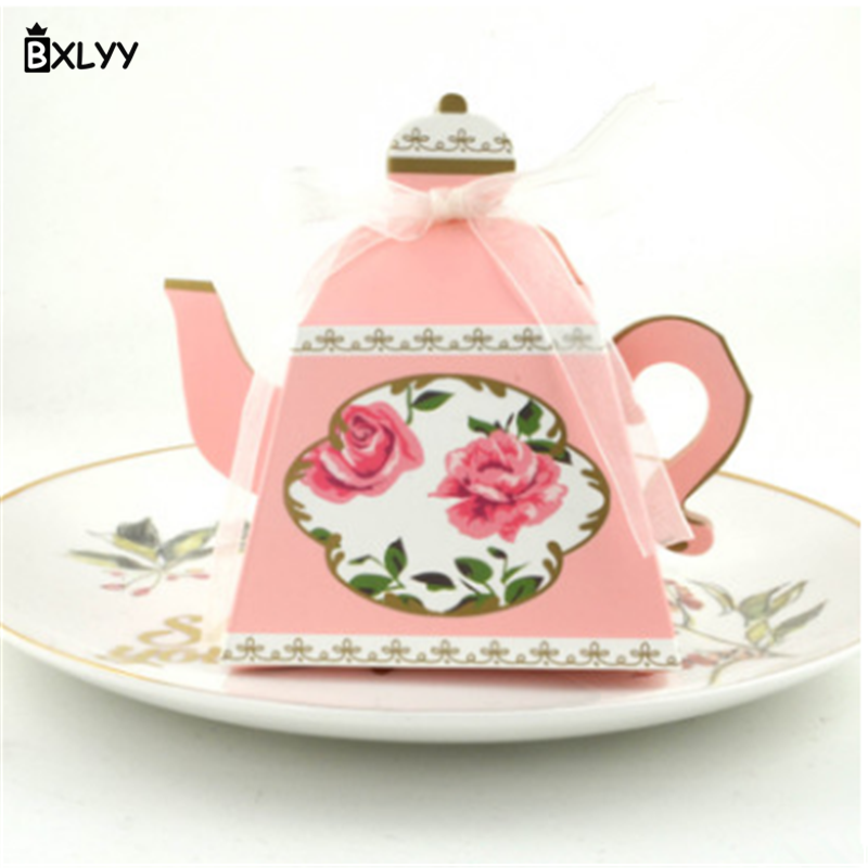 BXLYY 5pc Creative Teapot Candy Box Garden Wedding Gift Packaging Children Birthday Party Decoration Gift Halloween Supplies.8z
