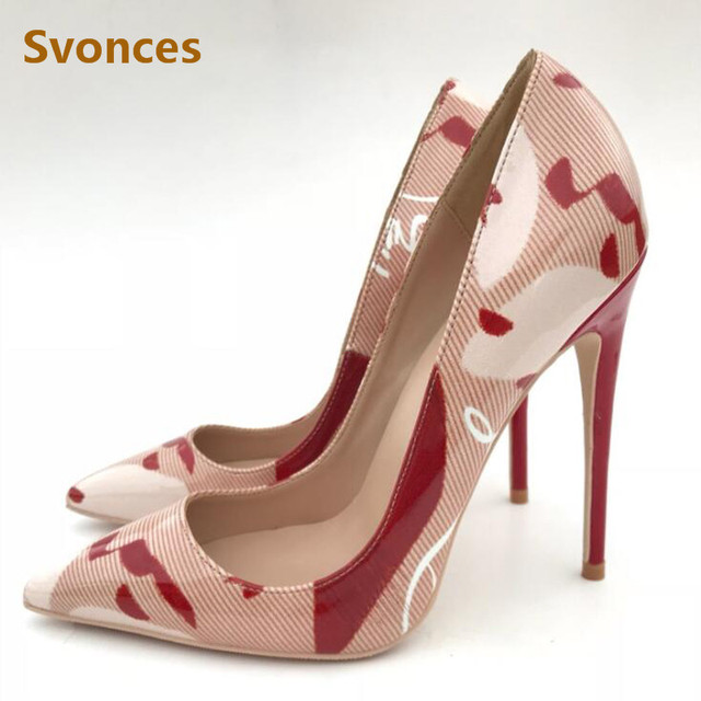 Sexy Lady Pumps Patent Leather Red High Heels Pointed Toe Sandals Luxury  Graffiti Brand Designer Shinny Womens Shoes Plus Size43 823af8f13aaa