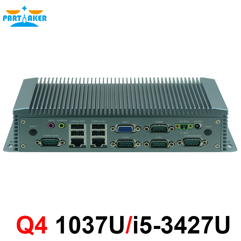 9-36V Wide Voltage Fanless Mini Pc Computer Hardware With Intel 1037U/i5 3427U CPU For 2 Lan With Wake On Lan