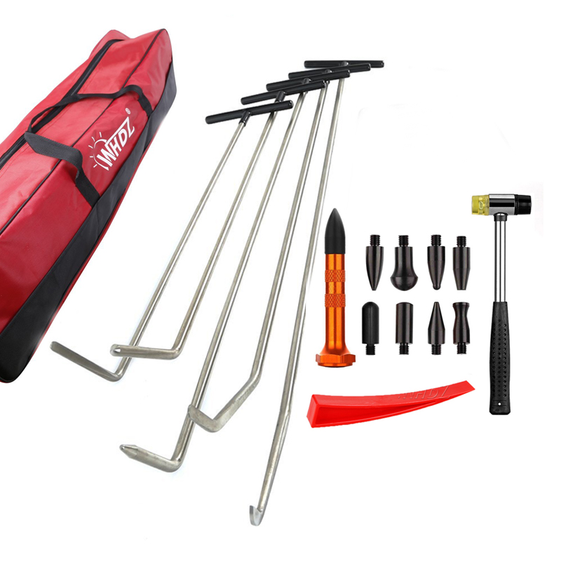 WHDZ PDR Hook Tools Push Rod Car Crowbar Paintless Dent Repair Tools Ding Hail Puller Set with Tap Down PDR Pen Rubber Hammer