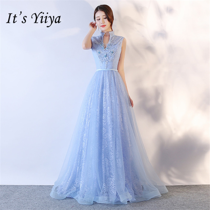 It's YiiYa Summer Sleeveless V-neck Mesh   Bridesmaid     Dresses   Elegant Pure Color Slim A-line Frocks H079