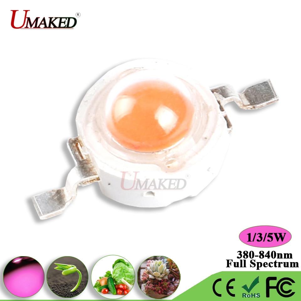 Umaked высокое Мощность 1 Вт 3 Вт 5 Вт светать привело чип лампа свет чипсы полный spectrum380-840nm аквариум /растениеводства SMD COB диода