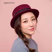 QDKPOTC 2018 New Autumn Winter Fashion Fedoras England Womens Europe And America Woolen Hat Outdoor Jazz Cap