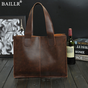 Image 1 - New Vintage Leather Briefcases Men Messenger Bag Brown/Black Luxury Business Briefcase Document Lawyer Laptop Bag Wholesale