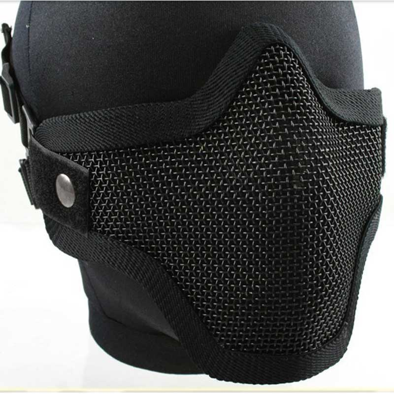 Military Army Metal Mask Airsoft Hunting Tactical Half Lower Face Metal Steel Net Mesh Masks VER2.0 (Two Belt Version)