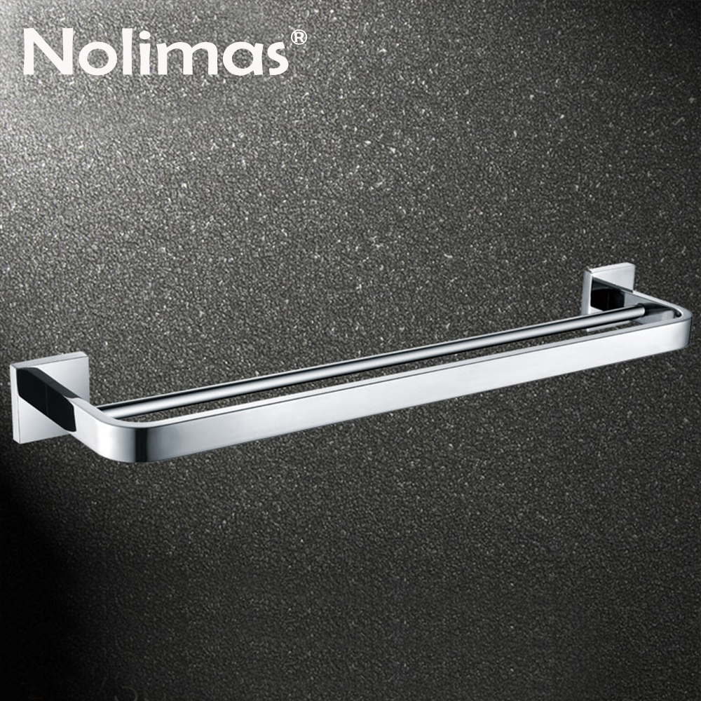 SUS 304 Stainless Steel Double Towel Bar Square Towel Rack In The Bathroom Mirror Polished Wall