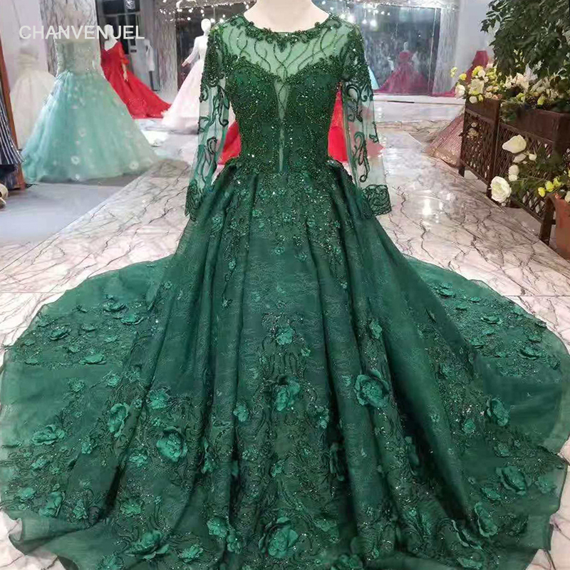 LSS247 green mothers of brides dress wedding party long tulle sleeve o-neck  zipper back muslim evening dress A-line party dress e6c8cc701adf