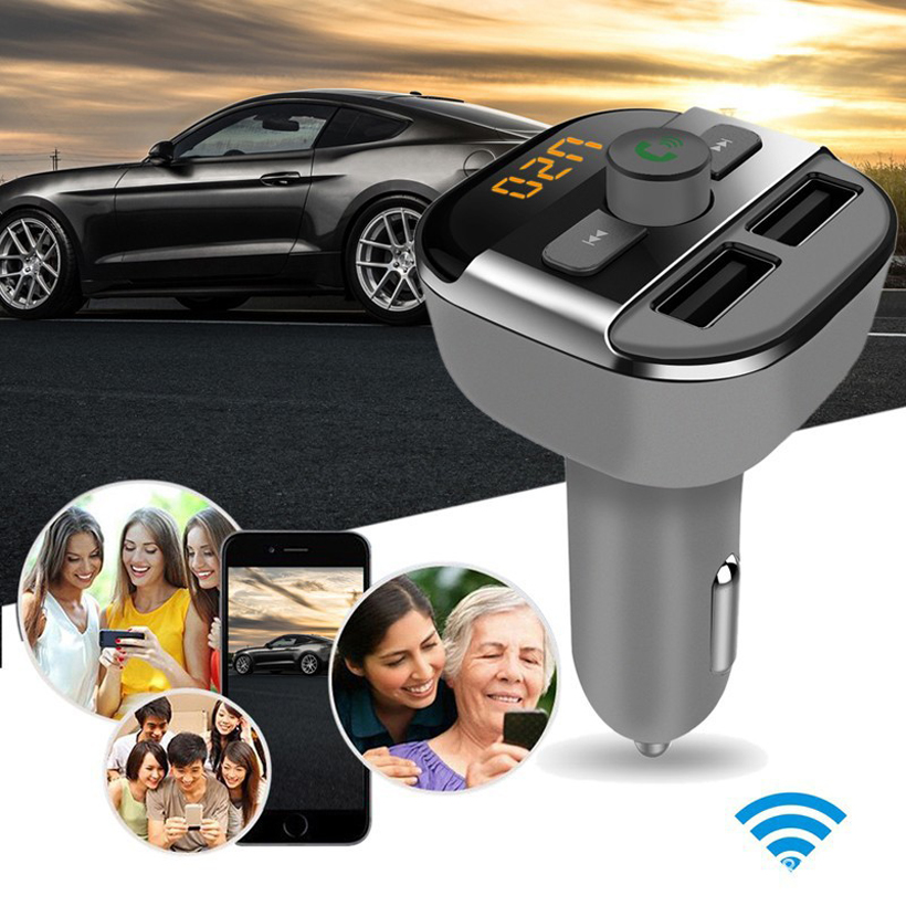 BT20 Upgarde Bluetooth Handsfree calling FM Transmitter music player support TF / U disk dual USB car charger universal