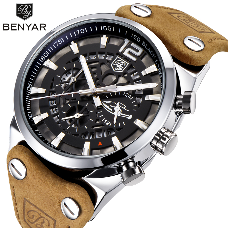 BENYAR Chronograph Sport Mens Watches Fashion Brand Military Waterproof Leather strap Quartz Watch Clock Relogio Masculino hot with show ink level chip for epson stylus pro 7700 9700 ink cartridge for epson wide format printer